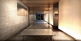 時を超える意志を持つ迎賓空間。静謐なエントランスホール、ラウンジ。建物に一歩入れば、この邸での平穏なる時を際立たせる世界。エントランスホール、それに続くラウンジの床と壁面は、時を超えて美しい質感を保つ天然石を採用。