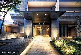 建物を象徴とするアプローチの柱に使用されるのは、多くの時間と職人の高い技術を要する「杉板型枠打放コンクリート」。ふたつと同じ柄や色合いのものがない素材を多用することで、この場所にしかない空気感を醸し出します。