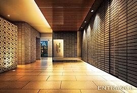 エントランス壁面に使用される、二丁掛けタイルは一枚一枚ていねいに焼き仕上げられ、その表情はひとつとして同じものはありません。グラディス幟町レジデンスは、素材の表情の違いすらデザインの1つとして、住まうひとびとのやすらぎや心の豊かさを深める工夫としています。