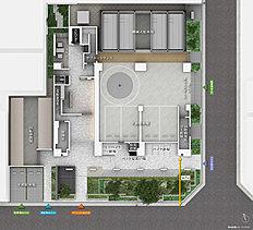 全邸南向き、2面接道の角立地。道路から建物までの空間を確保し、敷地全体のゆとりと開放感を実現。