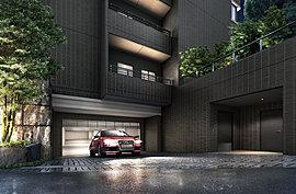 道路面と敷地の高低差を活かしたプランニングにより、周囲との視覚的な境界性とセキュリティ性を高めています。駐車場は敷地の地下部分に配し、前面道路とは緩いスロープで結ばれています。