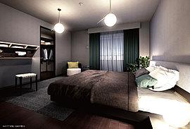 思い思いの時間を穏やかに過ごす心地よさを演出したプライベートルーム。家具のレイアウトやインテリアコーディネートを自由に楽しめるよう、シンプルな設えの空間としました。