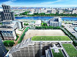 東にキャンパスを望む開放感光と風に満ちた日常へ。東京湾を渡る風が敷地内を心地よく吹き抜けます。また、東向きの「ブレスコート」からは、グラウンド越しの眺望と豊かな光に抱かれる暮らしが楽しめます。
