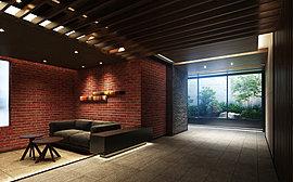 住まう方や訪れた方だけが体感できる迎賓の趣を設えた共用部。シックな雰囲気を醸すダークグレーの壁面に赤煉瓦調のタイルがやわらかくヴィンテージな風合いを醸し出すラウンジなどそのデザインは新たなライフスタイルを求める住まう方々の感性に呼応します。