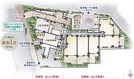 「ザ・パークハウス 渋谷笹塚」は、三面接道の角地という敷地を活かした、地上13階建ての高層棟と地上6階建ての低層棟の2棟構成のプランニング。そのため50%超の角住戸率の実現や豊富なプランバリエーションを可能としています。