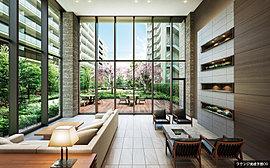 全面ガラス張りを採用した、天井高約5.5mのラウンジ。陽光を取り込み、リビングライクなくつろぎの空間を演出。また、庭園を彩る、四季折々の植栽を眺めることができます。
