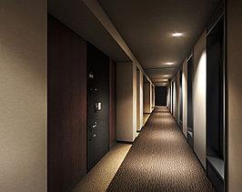 各階エレベーターホールから住まいへのアプローチは、落ち着きを宿す内廊下設計に。窓から自然の光を招き入れつつ、外からの視線と音を和らげ、ホテルライクな格調高い空間を創造しました。