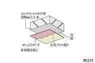 専有部の床だけでなく天井も、コンクリートスラブと仕上げ材の間に空間を設けています。