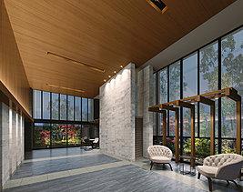 二層吹き抜けの広々としたエントランスホールはナチュラルな木目が温もりある雰囲気を演出。天井までの大きなガラスには、外からは見えづらい加工が施され、ゆったりと寛ぐことができます。
