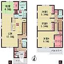 【間取り図】 2階の洋室は壁で仕切れば2部屋になり、家族のライフスタイルの変化に対応します。 そして、収納量にご注目下さい!!