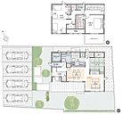 [プラン図] 図面を基に描いておりますので、プラン及び外構・植栽などは実際と多少異なる場合があります。また、家具は価格に含まれますが、家電・備品・車などは価格に含まれません。