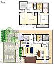 [4号地 プラン図] 図面を基に描いておりますので、プラン及び外構・植栽などは実際と多少異なる場合があります。 また、家具は価格に含まれますが、家電・備品・車などは価格に含まれません。