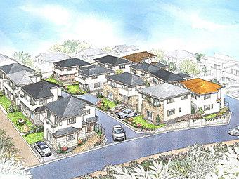 全区画38坪超の敷地は、ゆとりのお庭やカースペースを2台確保できる区画もあり、ご家族のニーズにあわせた、ゆったりとした住まいが出来上がります。