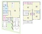 【6号地2階建てプラン】 セット価格3497万円となります!  2台駐車可能なスペースがございます。 キッチン周りに水回りを集約!家事効率がアップする嬉しい設計です。