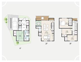 【1号地建物プラン例】4LDK、土地価格2052万円、土地面積80.2m2、建物価格1728万円、建物面積115.83m2
