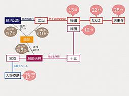 eMIRAIE 御堂筋/服部緑地:交通図