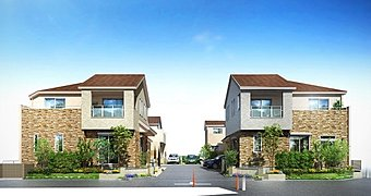 【街並み完成予想図】閑静な底層住宅地内、クルドサック(回転道路)を中心に展開する全6邸の街!