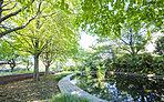 現地に程近い、緑豊かな関前公園(ガーデンレジデンス:徒歩1分(約60m)、ブライトレジデンス:徒歩3分(約180m)