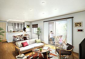キッチンの天井には間接照明、リビングの先にはテラスを設置。