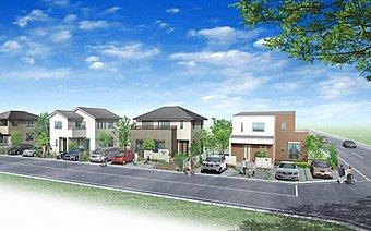 全28区画の大型分譲にてきれいな家並みが広がります。