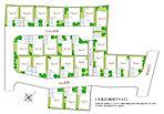 区画図 全住戸カースペース+庭を確保。自由設計を満喫できるのびやかな開放感を堪能いただけます。