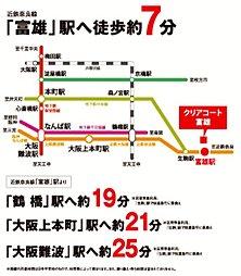 クリアコート富雄北:交通図