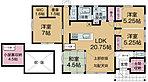 【間取図】将来も安心の平屋建て4LDK。収納量もたっぷり確保しました。