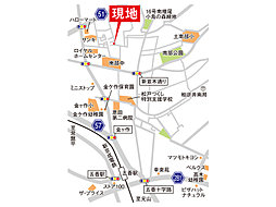 【柏市南増尾】 全4区画900万より 建築条件なし:交通図