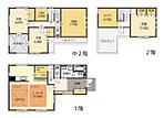 A号棟間取図 中2階の蔵収納や2階のロフトなど、収納スペースが充実しています。