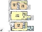 【間取図】全居室収納付き3LDKプラン!バルコニー4ヵ所あり風通しの良い明るい間取り!プライベート性の高い2階リビング!