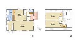 延床面積58.31坪(1F17.85坪、2F13.34坪)