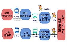 【東宝ホーム】サニーガーデン朝倉街道東:交通図