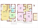 1号地 4LDK+ロフト LDKと和室の続き間ゆったり約19.5帖・家族の会話が弾むリビング階段・2階全洋室6帖以上・約2帖の納戸有り・南側バルコニー有り