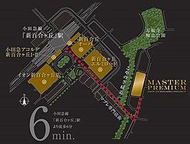 駅からの徒歩ルートに商業施設が立ち並ぶ。