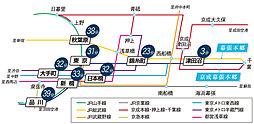 "駅徒歩 ""6分"" 建築条件なし 【幕張本郷 THE PREMIUM】:交通図"