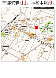 プランタンエコヒルズ都賀2~太陽と暮らす街~【太陽光発電×セキュリティー】~全26宅地の大型分譲地:案内図