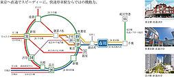 【初登場】市川駅からたった10分の距離で新築3000万前半で期間限定のセミオーダー住宅が実現:交通図