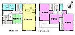 1号棟間取図 全居室にクローゼットなどの収納・各所共用スペースに収納があり、住空間はスッキリ広々です。