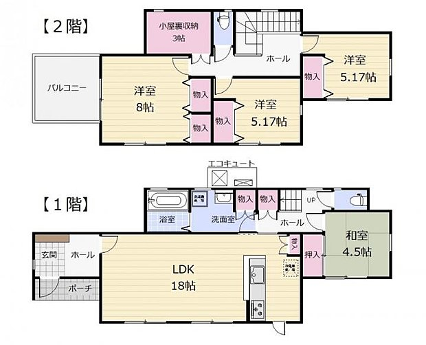 【4LDK】全居室、収納付きで広々住空間