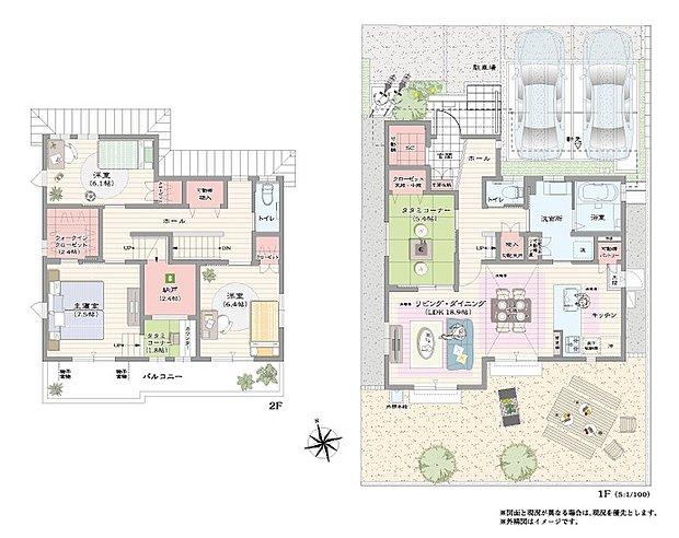 【4LDK】コミュニケーションを育てる対面キッチンがある家  2階主寝室には仕事や趣味など集中出来るプライベート空間、スキップタタミコーナー シーズンオフの家電や調度品が収納出来る納戸