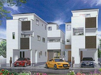 <外観イメージ>スタイリッシュな外観が目を引く新築全4棟現場。デザインのみならず地震に強いダイライト工法、メンテナンスも楽なALCパワーボードを採用した永住邸と呼ぶに相応しい造りとなっています。