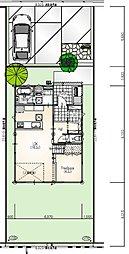 【1階平面図・配置図】2台分の駐車スペースを確保しつつ、お庭のスペースもしっかり