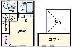 COCOAGE桜上水 2階ワンルームの間取り
