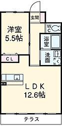 ウィステリア 3階1LDKの間取り