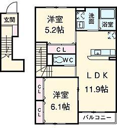 レラツィオーネ A棟 2階2LDKの間取り
