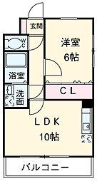 スマート・MS 3階1LDKの間取り