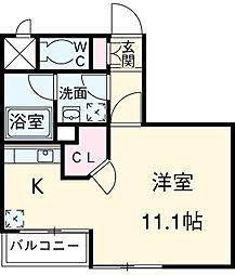 東急田園都市線 池尻大橋駅 徒歩2分の賃貸マンション 4階ワンルームの間取り