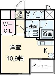 東急田園都市線 池尻大橋駅 徒歩2分の賃貸マンション 6階ワンルームの間取り