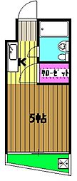 西武池袋線 所沢駅 徒歩9分の賃貸マンション 3階ワンルームの間取り