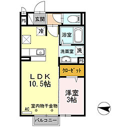 JR中央線 吉祥寺駅 バス18分 天神前下車 徒歩4分の賃貸アパート 2階1LDKの間取り